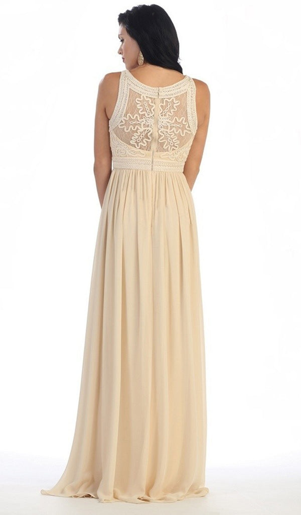 Embroidered Jewel A-line Evening Dress