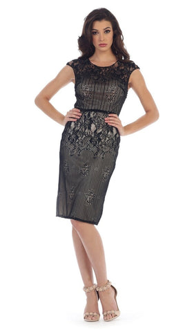 Cap Sleeve Sequined Lace Cocktail Dress - ADASA