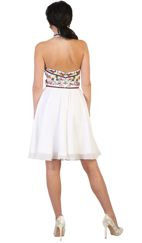 Halter Floral Embroidered Cocktail Dress