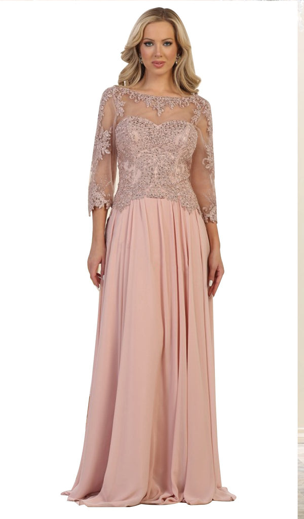 Bedazzled Illusion Bateau Evening Dress - ADASA