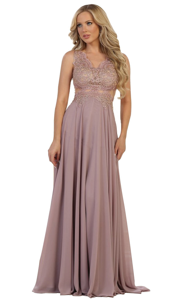 Scalloped Metallic Lace A-Line Prom Gown