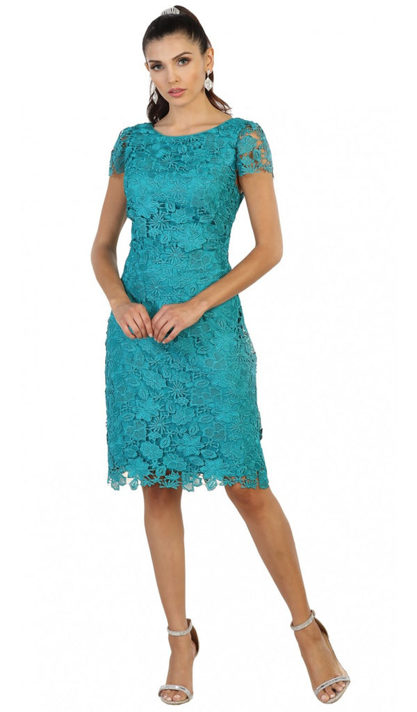 Floral Lace Overlaid Sheath Mother of the Bride Dress