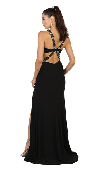 Halter Embellished Cutout Long Prom Gown