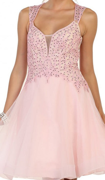 Jeweled V-neck A-line Cocktail Dress