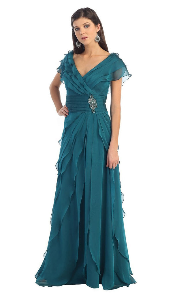 Tiered Chiffon Surplice V-Neck Formal Dress