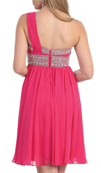 Trendy One Shoulder Strap Short Beaded Cocktail Dress