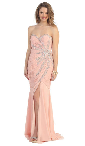 Fashionable Embellished Strapless Ruched Bodice Long Dress