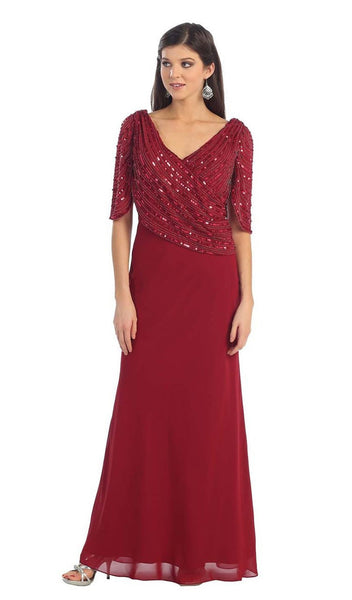 Draped Sleeve Sequined Sheath Evening Dress
