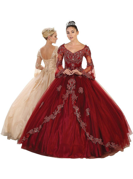 Embroidered Long Sleeve Quinceanera Ballgown