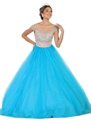 Sleeveless Jewel Embellished Quinceanera Ball Gown