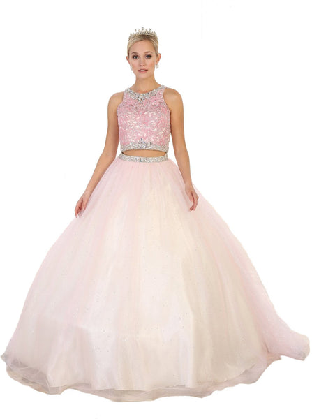 Two Piece Bejeweled Quinceañera Ballgown