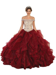 Jeweled Ruffled Evening Gown