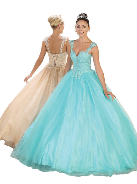 Beaded Lace Plunging Sweetheart Quinceanera Ballgown - ADASA