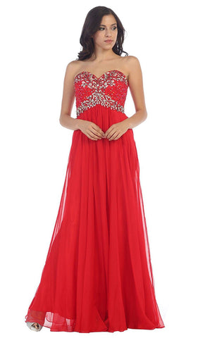 Crystal Flourished Chiffon Long Prom Gown