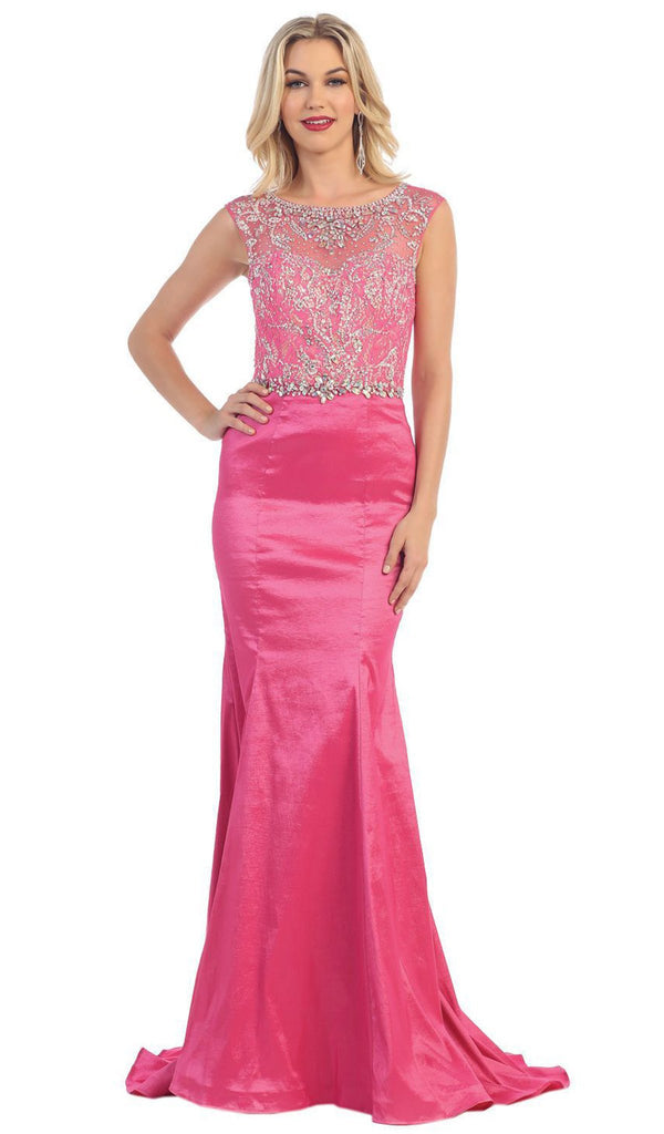 Crystal Embellished Illusion Trumpet Evening Gown - ADASA