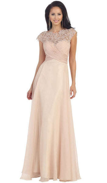 Embellished Illusion Bateau A-line Evening Dress