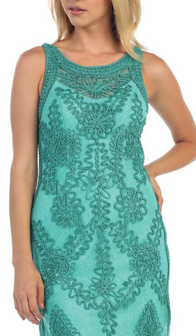 Sleeveless Illusion Soutache Embellished Cocktail Dress