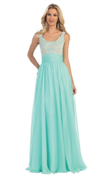 Dazzling Sleeveless Beaded and Laced Scoop Neck A-Line Evening Dress - ADASA