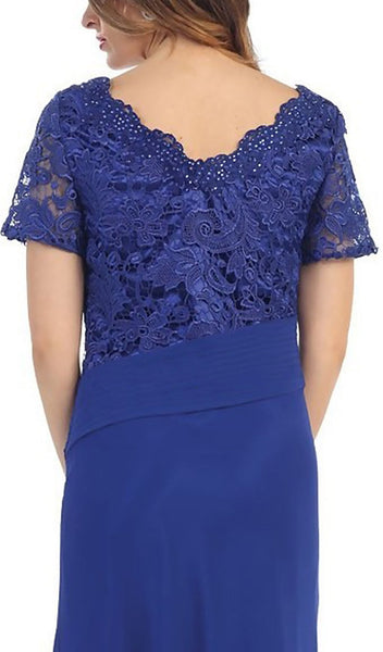 Lace Scalloped V-neck Sheath Evening Dress