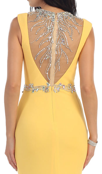 Bejeweled Sheer Sheath Evening Dress