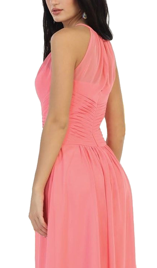 Crisscross Ruched Fitted Bridesmaid Dress - ADASA
