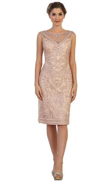 Bedazzled Illusion Bateau Sheath Mother of the Bride Dress - ADASA