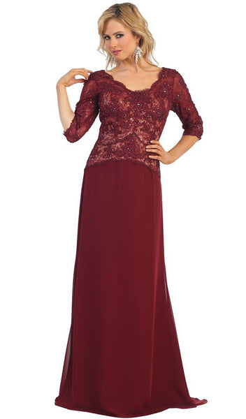 Lace Bodice Quarter Sleeve A-Line Evening Dress