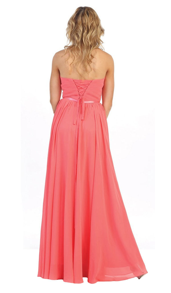 Strapless Ruched Sweetheart Chiffon Prom Dress