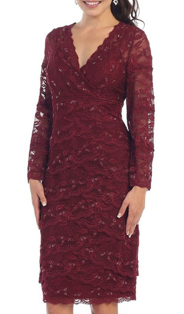 Scalloped V-Neck Knee Length Lace Cocktail Dress