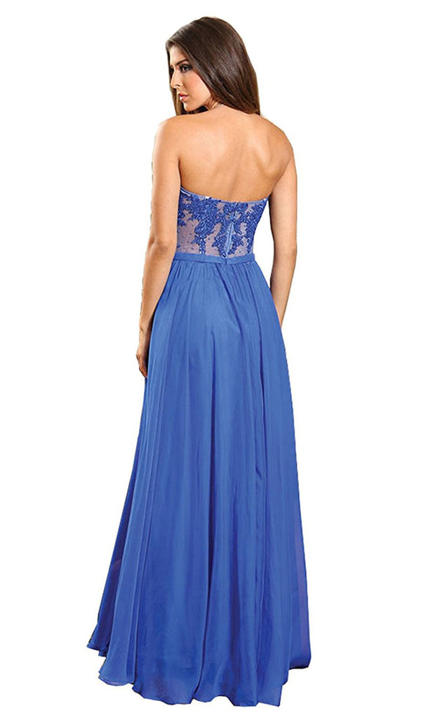 Beaded Floral Chiffon Prom Dress - ADASA