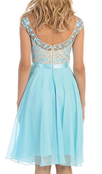 Dreamy Illusion Cap Sleeve A-Line Cocktail Dress - ADASA