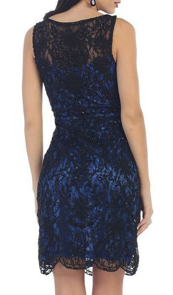 Soutache Lace Illusion Bateau Sheath Cocktail Dress