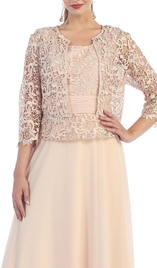 Exquisite Bateau Lace Long Evening Dress with Lace Jacket