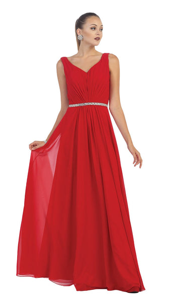 Jeweled V-Neck Chiffon A-Line Evening Dress