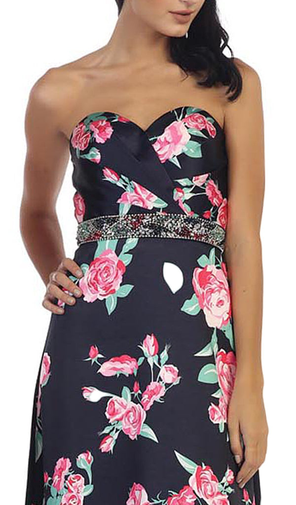 Strapless Floral Print Evening Gown