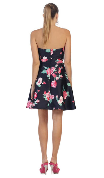 Strapless Floral Print Cocktail Dress