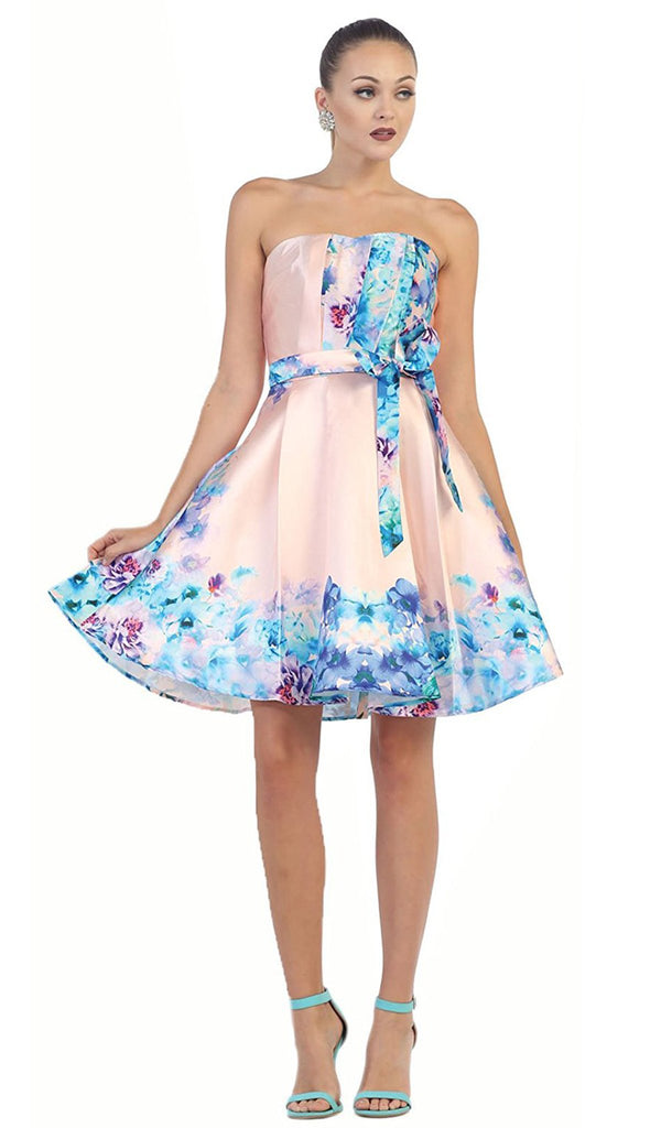 Strapless Pleated Floral Cocktail Dress