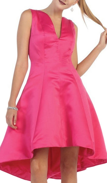 Charming V-Neck High Low Satin Short Formal Dress - ADASA