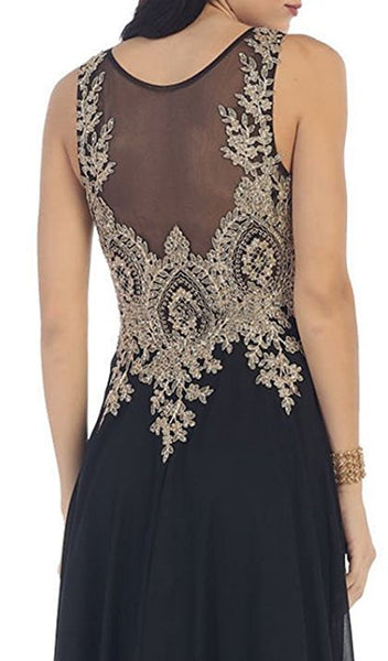 Illusion Ornate Lace Prom Gown