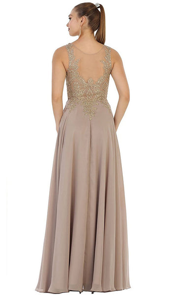 Embellished Illusion Scoop A-line Prom Dress