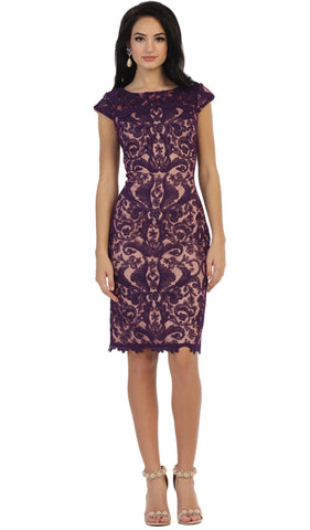 Lace Bateau Sheath Cocktail Dress