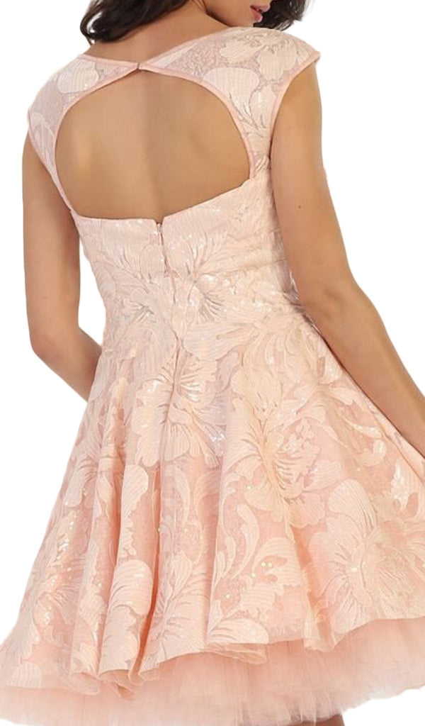 Cap Sleeve Floral Tulle Cocktail Dress - ADASA