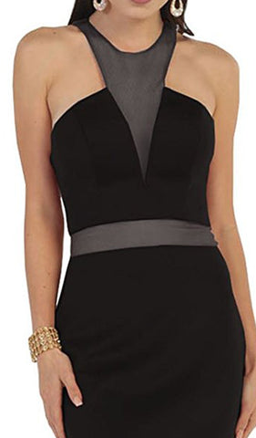 Illusion Halter Sheath Cocktail Dress