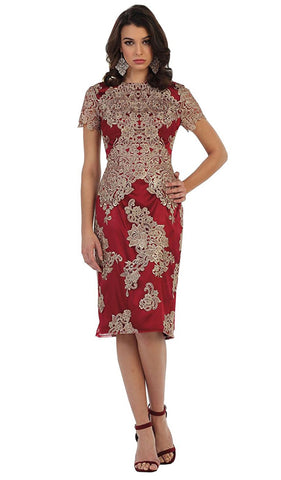 Embroidered Short Sleeve Column Formal Dress