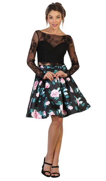 Lace and Floral Two-Piece Cocktail Dress