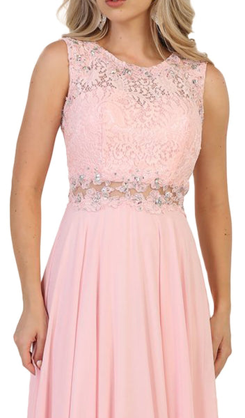 Embellished Lace Pleated Prom Dress
