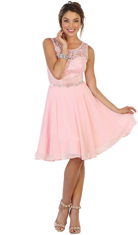 Lace Jewel A-line Homecoming Dress
