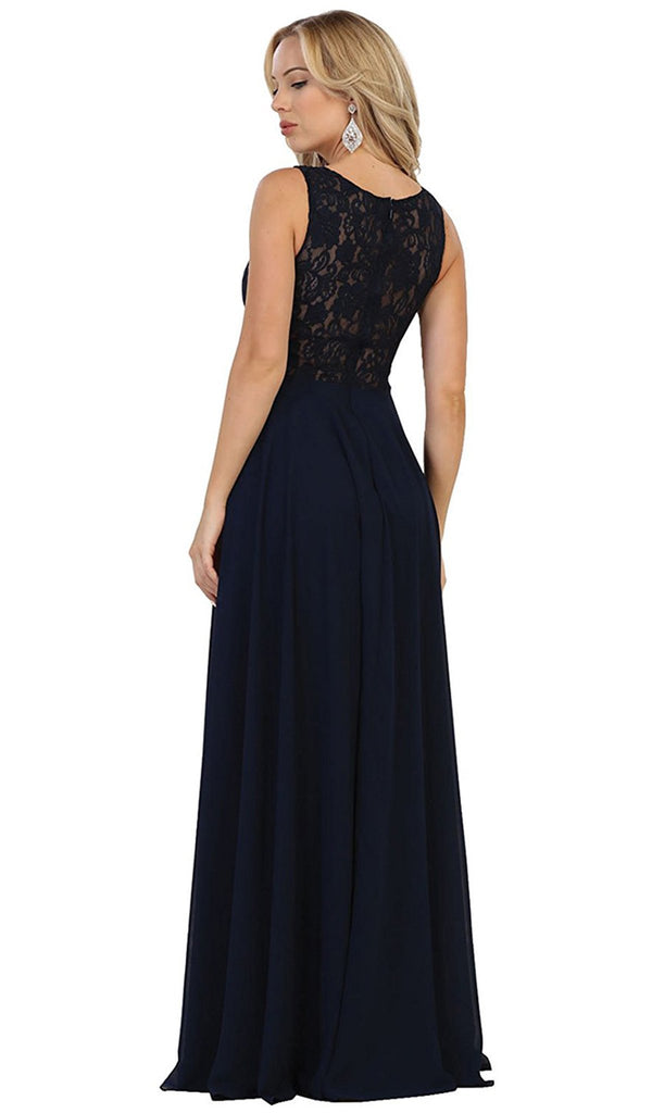 Beaded Lace Scoop Prom Dress - ADASA