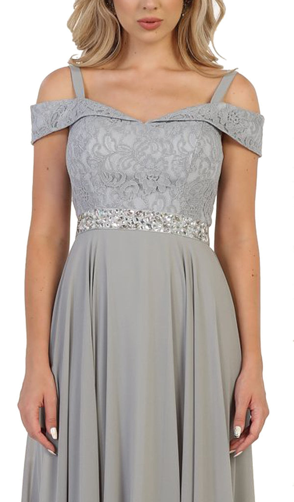Cold Shoulder Lace Prom Dress - ADASA