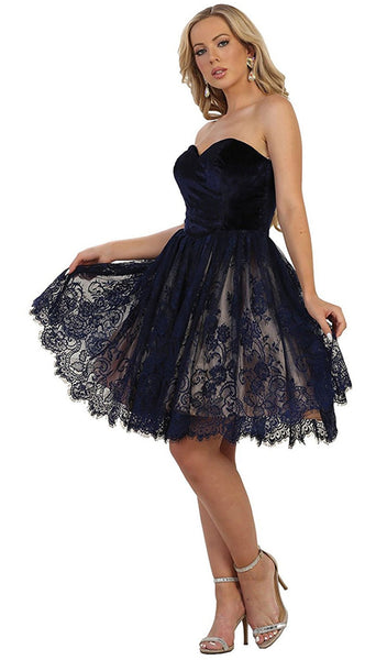 Strapless Sweetheart Lace A-line Cocktail Dress